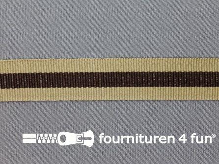 Ripsband met strepen 20mm beige - bruin