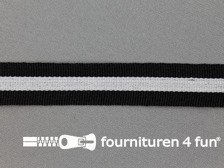 Ripsband met strepen 20mm zwart - wit