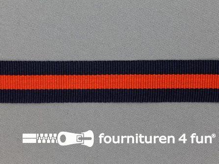 Ripsband met strepen 20mm marine blauw - oranje