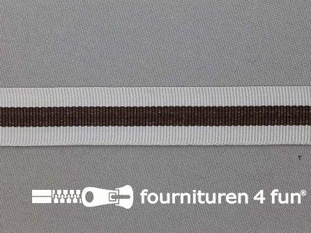 Ripsband met strepen 20mm grijs - bruin