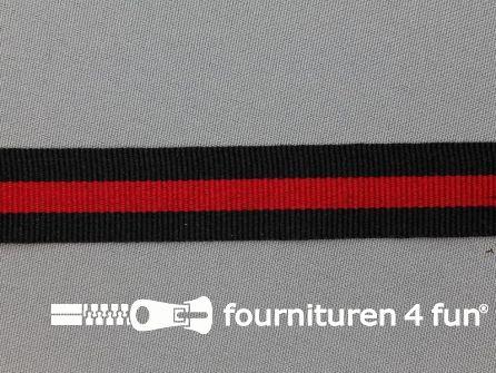 Ripsband met strepen 20mm zwart - rood