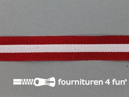 Ripsband met strepen 20mm bordeaux rood - wit