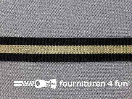 Ripsband met strepen 20mm zwart - beige