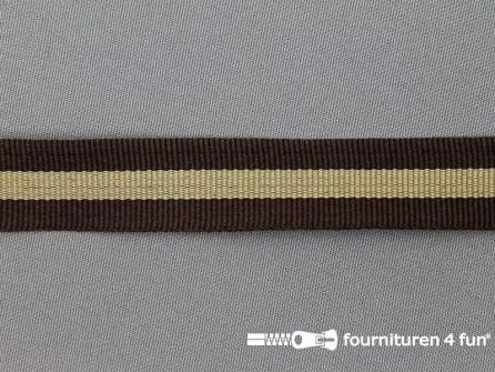 Ripsband met strepen 20mm bruin - beige