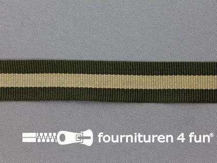 Ripsband met strepen 20mm jagersgroen - beige