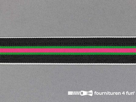 Ripsband met strepen 20mm fuchsia - groen - wit - zwart