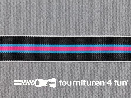 Ripsband met strepen 20mm fuchsia - aqua - zwart - wit