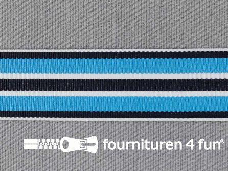 Ripsband met strepen 25mm aqua blauw - wit - zwart