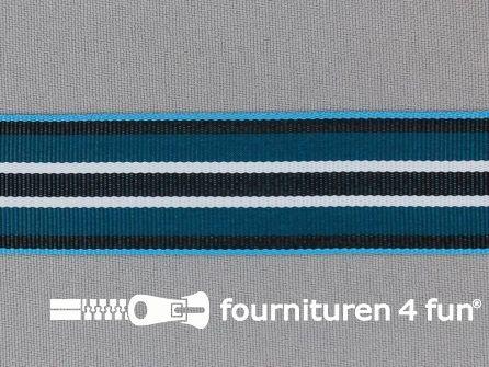 Ripsband met strepen 25mm blauw - wit - zwart