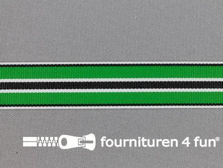 Ripsband met strepen 20mm groen - wit - zwart
