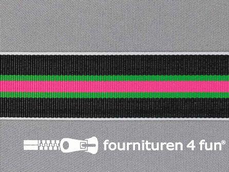 Ripsband met strepen 25mm fuchsia - groen - wit - zwart