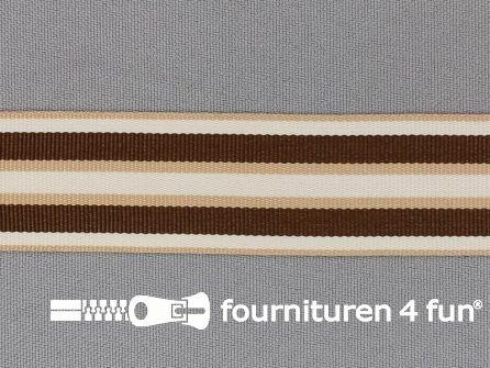 Ripsband met strepen 25mm beige - bruin