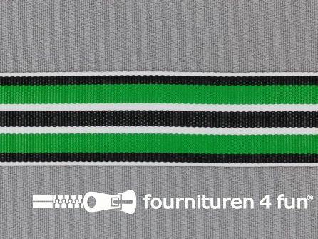 Ripsband met strepen 25mm groen - wit - zwart
