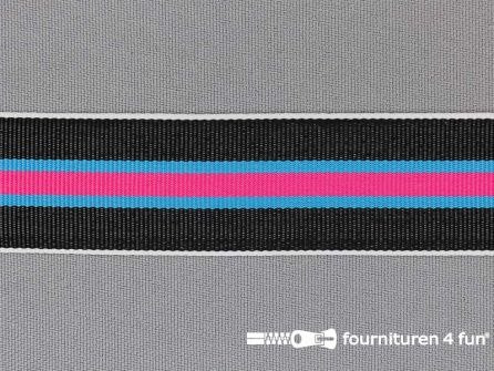 Ripsband met strepen 25mm fuchsia - aqua - wit - zwart