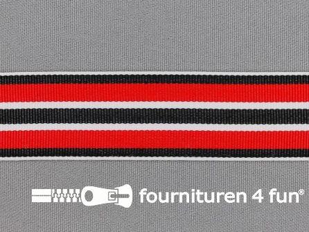 Ripsband met strepen 25mm rood - wit - zwart