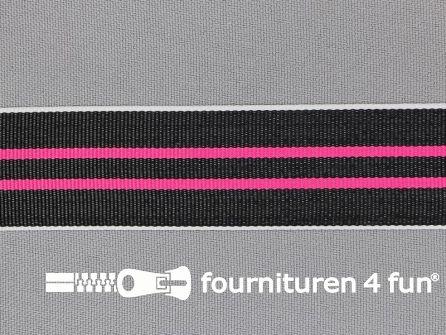 Ripsband met strepen 25mm fuchsia - wit - zwart