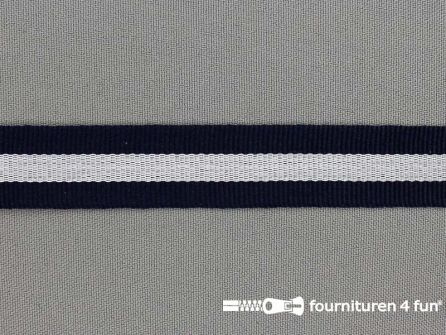 Ripsband met strepen 20mm marine blauw - wit