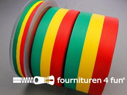 Rol 25 meter carnavals lint 30mm rood, geel en groen