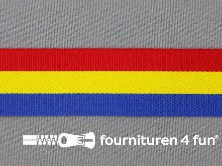 Deco lint 25 mm rood - geel - blauw