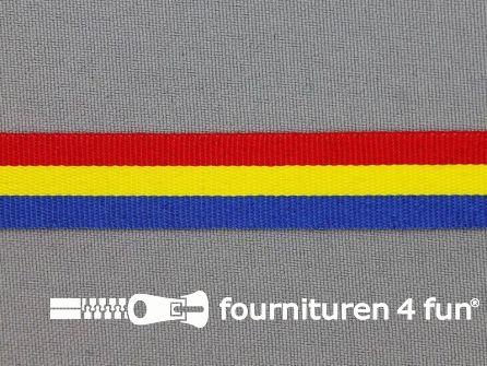 Deco lint 15 mm rood - geel - blauw