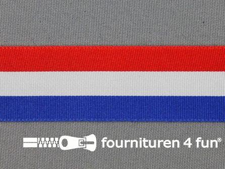 Deco lint 25mm rood - wit - blauw