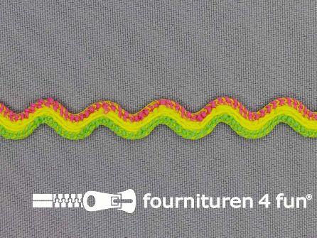 Zigzag band 10mm roze - geel - groen