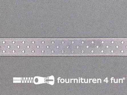 Satijnen deco lint 12mm stippen zilver - grijs