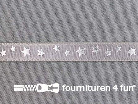 Satijnen deco lint 12mm sterren zilver - grijs