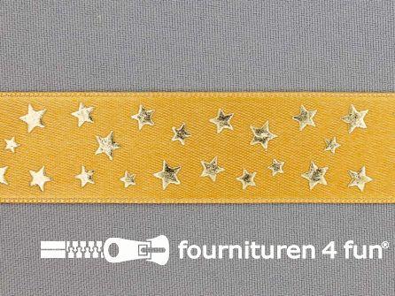 Satijnen deco lint 24mm sterren oker geel - goud