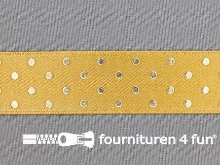 Satijnen deco lint 24mm stippen oker geel - goud