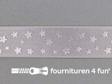 Satijnen deco lint 24mm sterren zilver - grijs