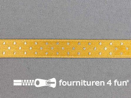 Satijnen deco lint 12mm stippen oker geel - goud