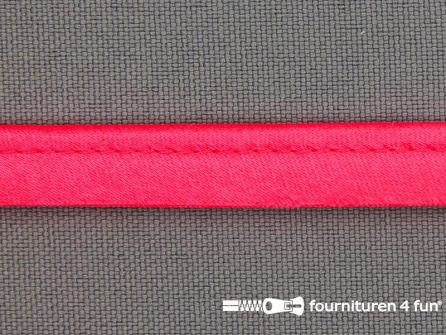 Satijnen paspelband 10mm neon roze