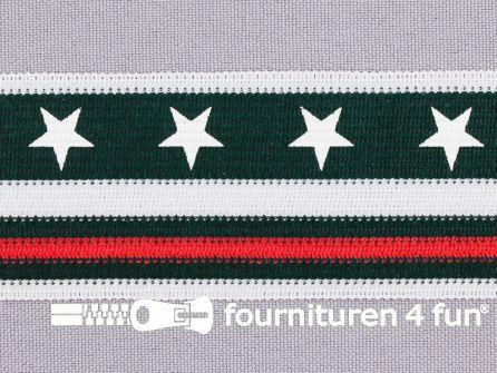 Modern band met sterren 38mm rood - wit - donker groen