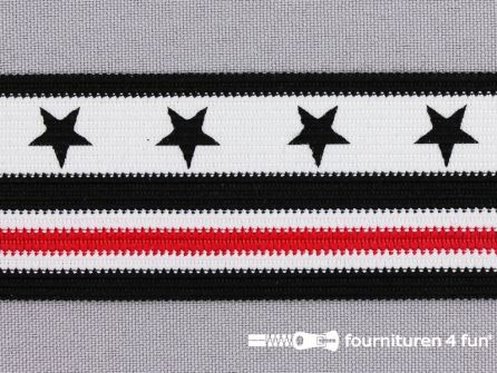 Modern band met sterren 38mm zwart - wit - rood