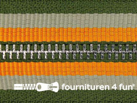 Niet deelbare sierrits  leger groen - oranje 20CM