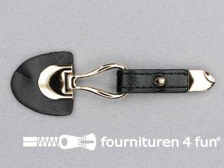 Siersluiting leer 103x33mm zwart - goud