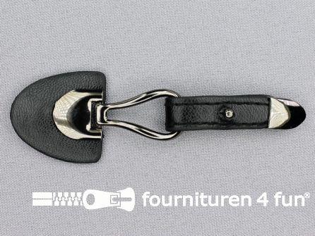Siersluiting leer 103x33mm zwart - zwart zilver