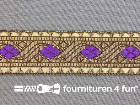 Sinterklaasband 30mm goud - donker lila paars