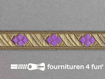 Sinterklaasband 14mm goud - licht lila paars