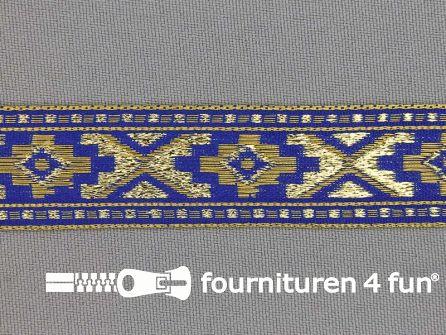 Sinterklaasband 21mm goud - blauw