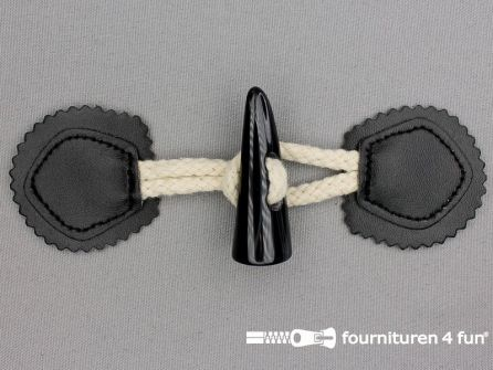 Skai houtje touwtje 50x160mm zwart - beige