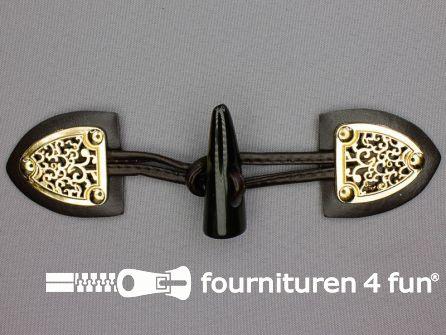 Skai houtje touwtje 50x180mm donker bruin - goud