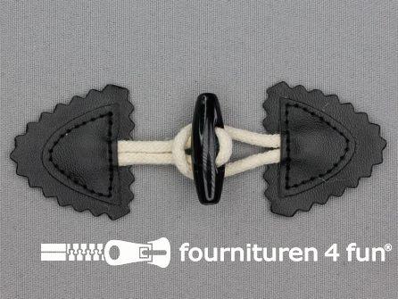Skai kinder houtje touwtje 35x110mm zwart - beige