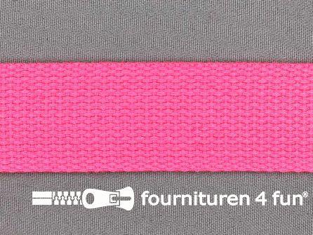 Katoen-look tassenband 32mm neon roze