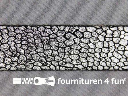 Metallic steampunk band 25 mm zwart - zilver