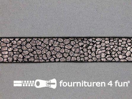 Metallic steampunk band 17 mm zwart - donker koper