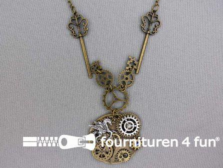 Steampunk ketting sleutels en klok 45mm rond brons