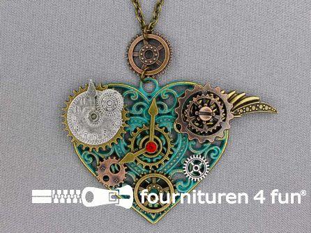 Steampunk ketting tandwielen zilver brons - emerald groen
