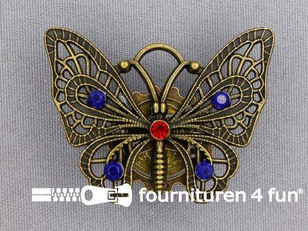 Steampunk corsage vlinder brons - blauw / rood